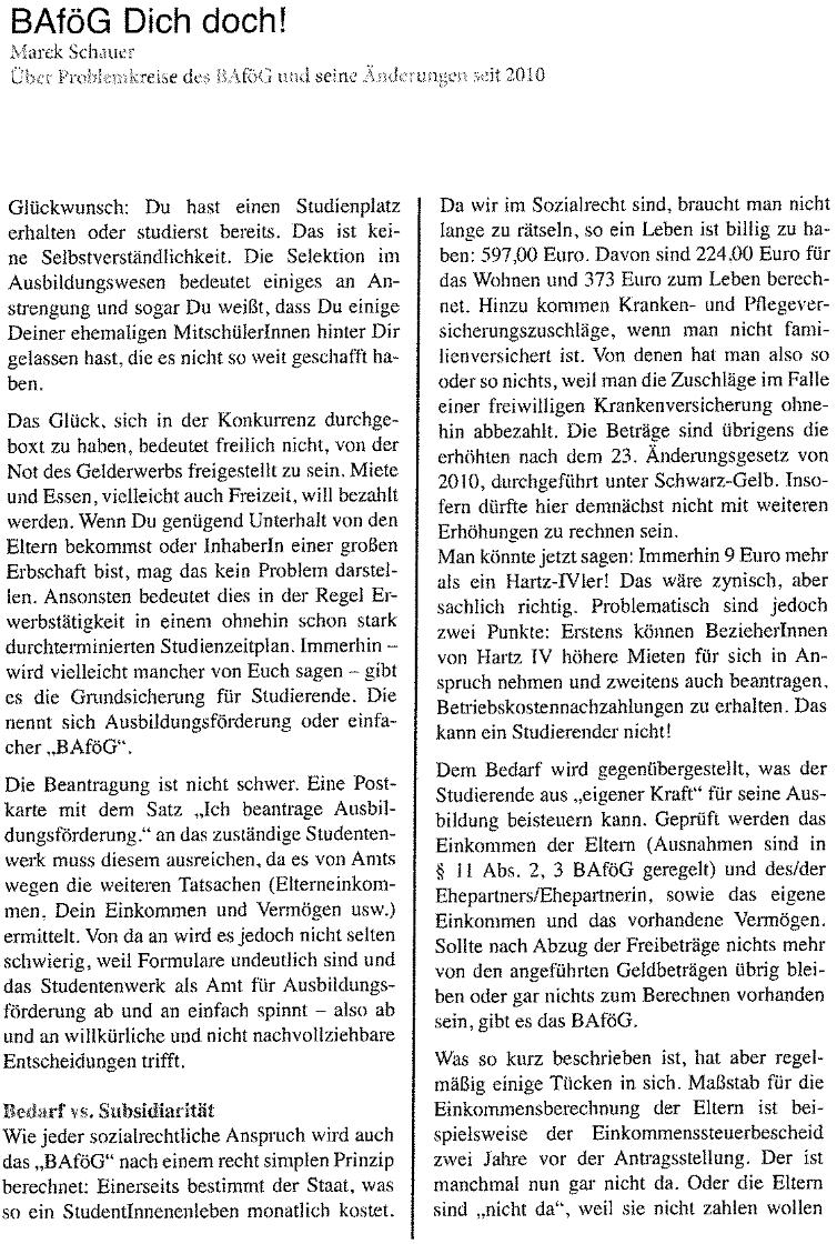 Scan vom HUCH-Artikel Seite 1